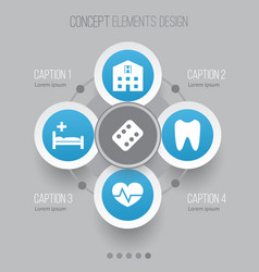 Antibiotic icons set collection of polyclinic vector