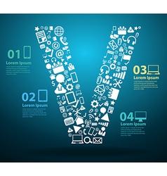 Application icons alphabet letters V design vector