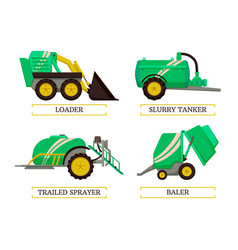 Baler and slurry tanker set vector