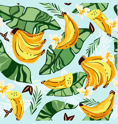 banana seamless patterntropical fruit and vector image