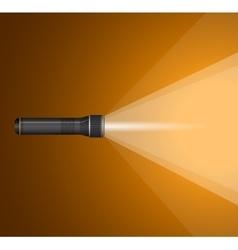 Beam light from flashlight black metal vector