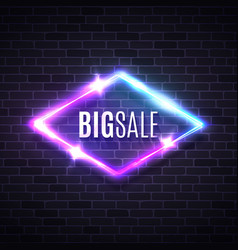 big sale neon rhomb sign brick wall light lozenge vector image