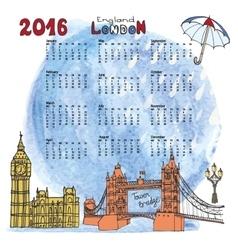 Calendar 2016LondonLandmarks panoramawatercolor vector