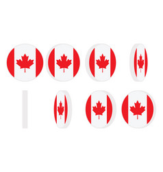 canada flag round icon spinning animation sprite vector image