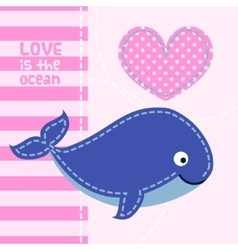 Card with cute cartoon whale in patchwork style vector