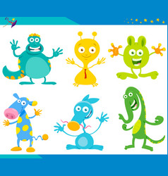 cartoon fantasy monster characters set vector image