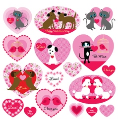 cat and dog valentines vector image