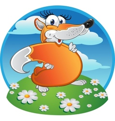 Cheerful fun Fox on the background vector