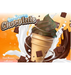 Chocolate ice cream cone dessert realistic vector