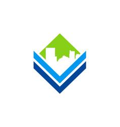 Cityscape building icon logo vector