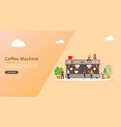 Coffee machine for website template with people vector