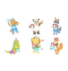 collection cute happy animals for happy vector image