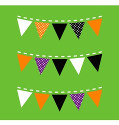Colorful Halloween Bunting isolated on green vector