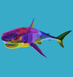 colorful shark on pop art style vector image