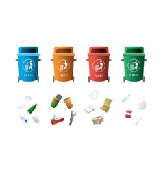 containers for garbage different types vector image