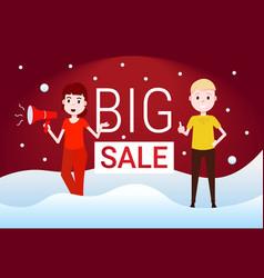 couple man woman hold megaphone big sale concept vector image