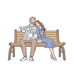 couple reading newspaper outdoor vector image
