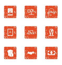 cyber century icons set grunge style vector image