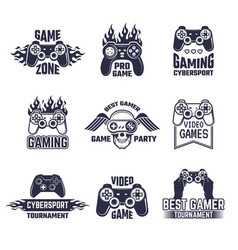 cyber sport badges and labels pictures for gamers vector image