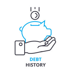 Debt history concept outline icon linear sign vector