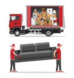 Delivery truck full home stuff inside and mover vector