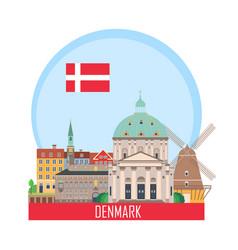 denmark copenhagen background with national vector image