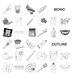 dental care monochrom icons in set collection for vector image