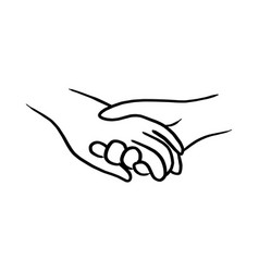 doodle hand of lover holding each other vector image