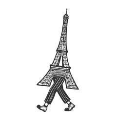 eiffel tower walk sketch engraving vector image