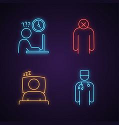Emotional stress neon light icons set vector