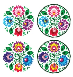 Ethnic round polish embroidery with flowers vector