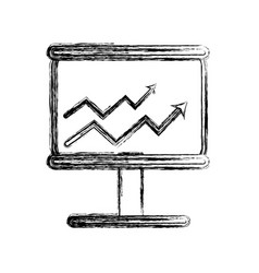 Figure board with financial arrow to growing vector