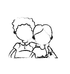 Figure old couple with hairstyle design vector