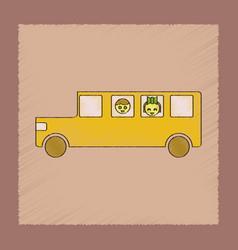 flat shading style icon school bus vector image