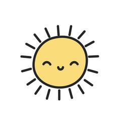 funny sun weather cartoon icon vector image