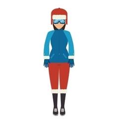 Girl cartoon winter clothes vector
