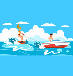 Girl riding water skiing vector