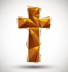 Golden cross geometric icon made in 3d modern vector