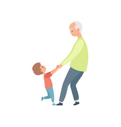 Grandpa and his little grandson holding hands vector