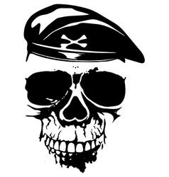 Grunge skull in beret vector