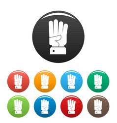hand four icons set color vector image
