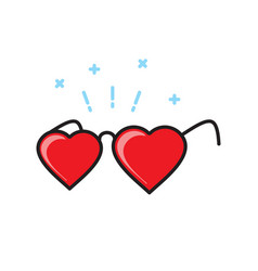 heart shape glasses icon on white background for vector image