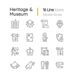 Heritage and museum linear icons set vector