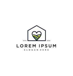 Home heart logo design vector