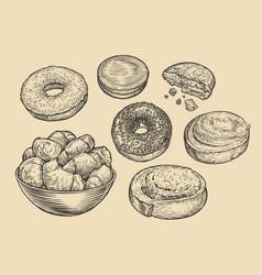 homemade baking sketch bakery food concept vector image
