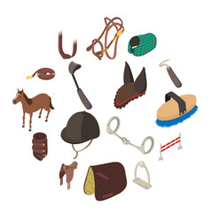 Horse sport equipment icons set isometric style vector