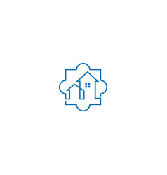 house realty puzzle company logo vector image