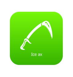 Ice ax icon green vector