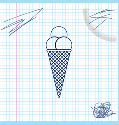 ice cream in waffle cone line sketch icon isolated vector image
