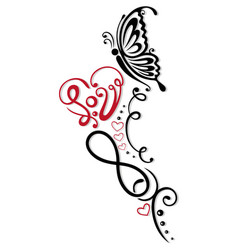 Infinity heart butterfly vector